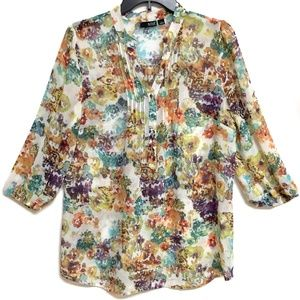 a.n.a. floral semi sheer 3/4 sleeve blouse, size M